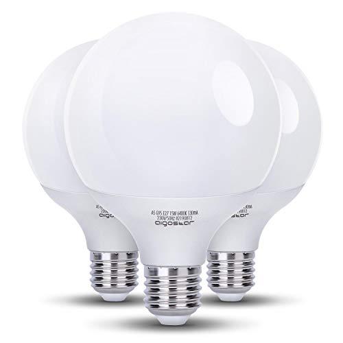 Aigostar - Pack de 3 Bombillas LED G95, globo, 15W, casquillo gordo E27, 1275 lumen, luz blanca 6400K [Clase de eficiencia energética A+]