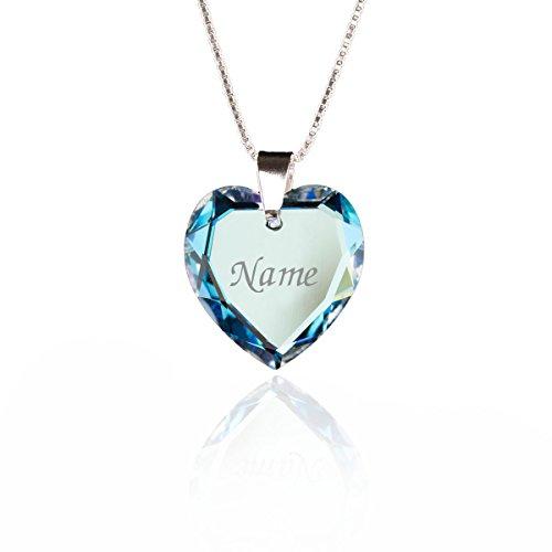 Damen Halskette 925 Sterling Silber mit SWAROVSKI ELEMENTS Herz Anhänger Blue AB Herz und individueller Namensgravur
