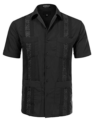 Allsense Men's Short Sleeve Cuban Guayabera Shirts 18-18.5N 2XL Black