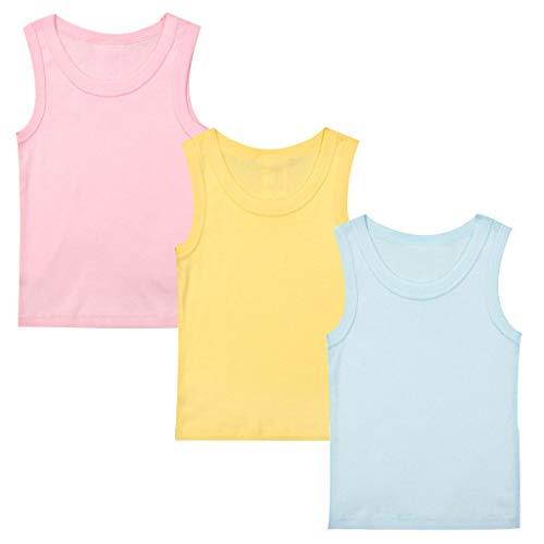 Minizone Kinder Unterhemden 3er Pack Jungen Mädchen T-Shirt Ärmellos Tops Baumwolle Babykleidung 18-24 Monate