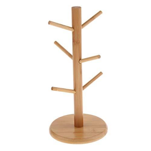 Fenteer Tassenbaum Tassenständer Brezelständer aus Bambus für 6 Tassen Becher