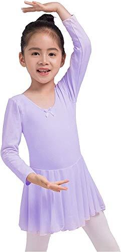 Dancina - Vestido Danza Maillot de Ballet Clásico de Manga Larga para Niñas Lavanda 2-3 años
