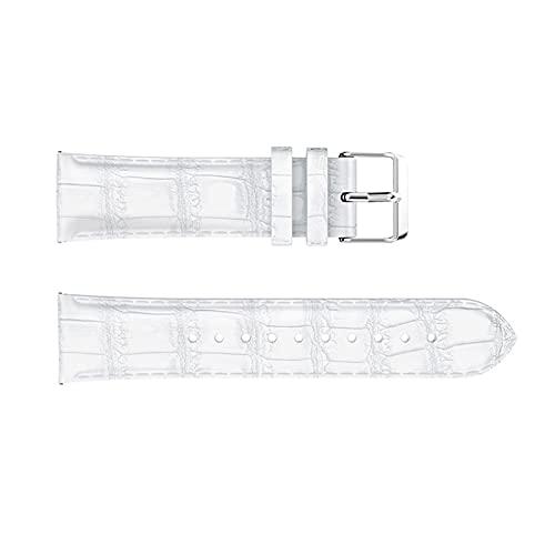 ZXC 22 mm Ajuste para Samsung Gear S3 Frontera Reloj clásico Reloj de reemplazo de Cuero Pulsera Correa de Reloj Fit para Samsung Glaxy Watch Bandas de 46 mm (Band Color : White, Band Width : 22mm)