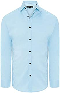 Tarocash Men's Linton Stretch Non Iron Shirt Polyester Blend Regular Fit Long Sleeve Sizes XS-5XL for Going Out Smart Occasionwear