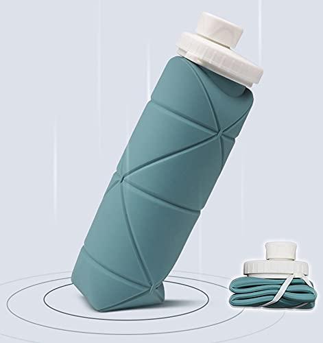 Borraccia Silicone Pieghevole,600ml Bottiglia D'acqua Morbida,Pieghevole da Viaggio Bottiglia,BPA Free,Applica a Escursionismo,Campeggio,Corsa,Trekking,Antiurto