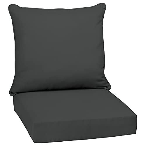 Overstock Arden Selections Slate Canvas Texture Outdoor Deep Seat Set...