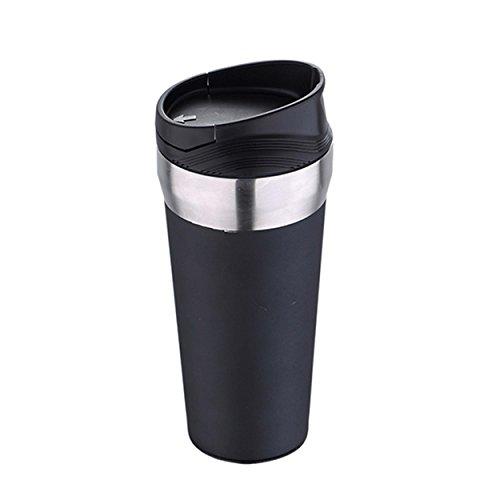 Bergner Frappe Thermoskanne Mug, Edelstahl, Schwarz, 8.5x 8.5x 19.5cm