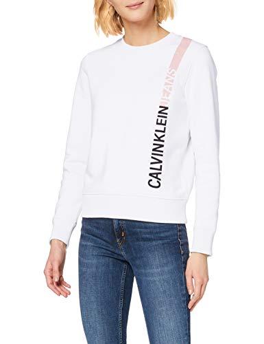 Calvin Klein Jeans Damen Stripe Logo Regular Crew Neck Sweatshirt, Weiß (Bright White Yaf), 38 (Herstellergröße: Large)