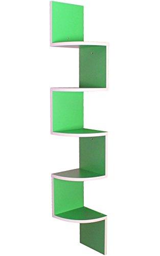 yelloo MENSOLA Libreria ad Angolo Bianco e Verde MOD. Snake Green MDF