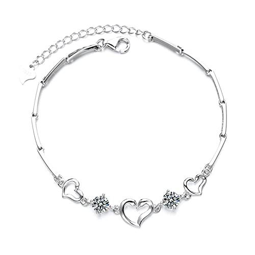 1 pulsera de plata de ley S925 con colgante pequeño hecho a mano, regalo para novias