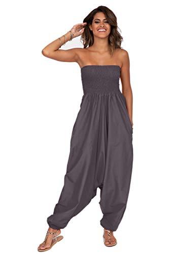 likemary Extraweite Damen Haremshose - Einteiler aus Baumwolle – Jumpsuit Overall - Pluderhose mit Bandeau Oberteil - Größen 36 bis 44 - Vielseitig anpassbar - Dehnbare Bünde- grau