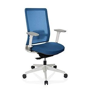 hjh OFFICE 738117 Silla de Oficina Pure White Malla/Tela Beige/Blanco Soporte Lumbar Silla ergonómica