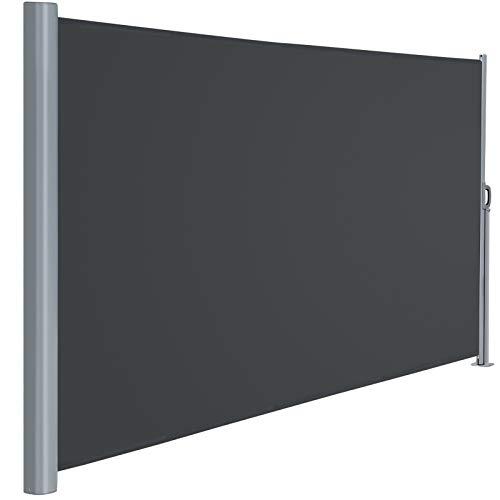 Viewee Seitenmarkise Alu - 180 x 350 cm (H x L), Automatisches Zurückspulen Seitenrollo, Sichtschutz, Sonnenschutz, Windschutz, Seitenmarkise für Balkon, Terrasse, Garten