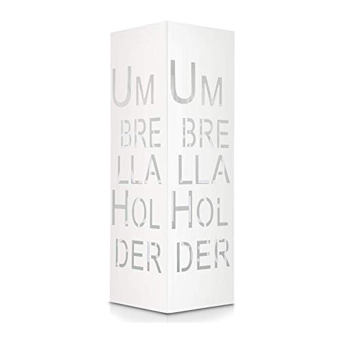 amzdeal Portaombrelli, 18 x 18 x 55 cm portaombrelli Supporto da appoggio per ombrellone Lungo/Corto (Modello di Lettera Bianco)