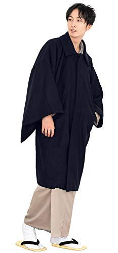 [キョウエツ] 和装コート角袖 着物コート ウール混 メンズ (M, 紺)