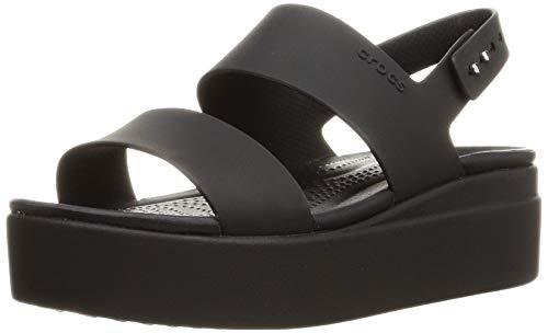Crocs Women's Brooklyn Low Wedges Sandal, Black/Black/Black, 6