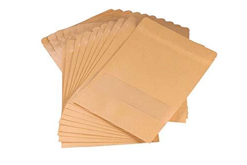 Bolsas ziploc UTRO. Hechas de papel Kraft. Con cierre hermético. Práctica ventana de plástico. Para almacenar alimentos. 20 unidades, plástico, 6.7
