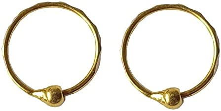 Certified Solid 22K/18K Yellow Fine Gold Attached Bead Design Hoop Earrings Available In Both 22 Carat And 18 Carat Fine Gold,Size Height-9MM Width-9MM For Women,Girls,Kids,Men's Bali,Gifts