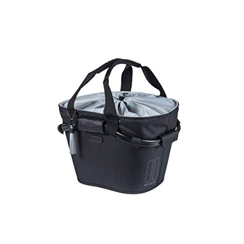 Basil Noir Carry All Klickfix Fahrradkorb, schwarz-Midnight Black, Einheitsgröße
