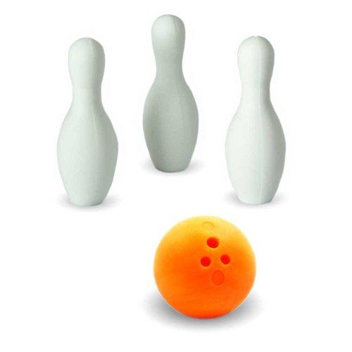 Iwako Puzzle Radiergummi zum Sammeln Bowling Kugel 3 Bowling Kegel Pins und Sticker orange