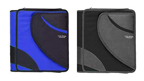 Five Star 3 Ring Zipper Binder Set with Pocket - 2 Pack Binder School Supplies 1.5 Inch Zipper Binder Bundle (Black and Blue, 8 1/2' x 11')