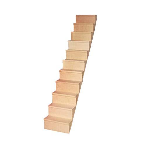Supvox Hölzerne Puppenhaus Treppe Miniatur Puppe Treppe Leiter Treppenhaus Modell ohne Handlauf für Mini Haus Szene Fee Garten Ornament Spielzeug Zubehör 1pc 1/12