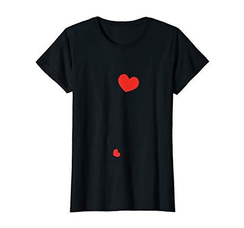 Damen Two Hearts Schwangere Ankündigung T-Shirt Zwei Herzen
