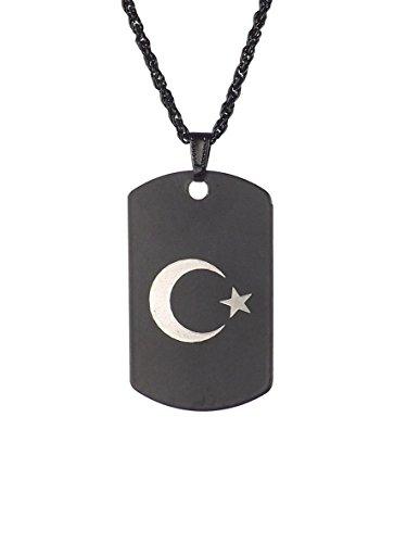 Gök-Türk Halskette Künye für Herren Unisex mit Anhänger Ay Yildiz Halbmond mit Stern - schwarz