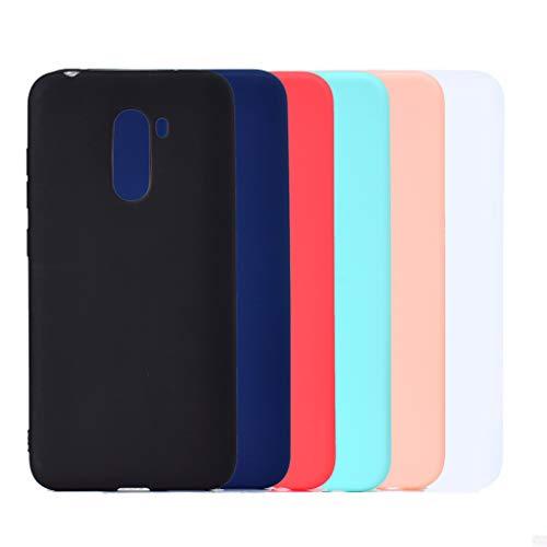 6 Colores Funda para Xiaomi Pocophone F1, Yunbaozi Carcasa Caucho Funda de Silicona Caramelo Ultra Suave Flexible TPU Case Cover for Xiaomi Pocophone F1, Negro Azul Rojo Verde Rosa Blanco