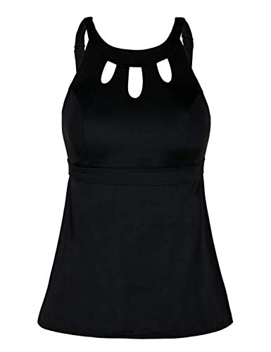 Septangle Women Plus Size Tankini Swim Top High Neck Keyhole Swimsuits Swimwear Retro Swimsuit,US 24,Black