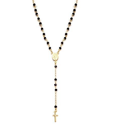 Collana A Rosario In Argento 925 Dorato Con Perline Nere - Linea Italia Gioielli Made in Italy