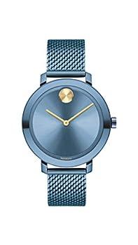Movado Women s Bold Evolution Swiss Quartz Watch with Stainless Steel Strap Blue 15  Model  3600675