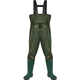 Waders Pêche Homme, 100% Imperméable Durable en PVC Nylon, avec Bretelle en H, Poche pour pêcheurs Hommes Femmes,Taille…