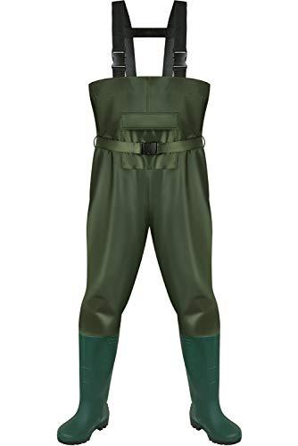 Pinkpum Vadeador de pescador, botas de pesca, pescado, estanque, goma, PVC, nailon, con botas, resistentes al frío, pantalones de algodón, pantalón para estanque, de goma, PVC, verde, 47