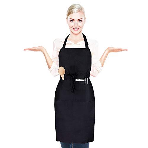 Afzonos Grembiule da Cucina con Cintura Regolabile Collo Uomo e Donna, con 2 Tasche Waterproof Nero Multiuso da Ristorante Chef Cuoco Cameriere Barman da Lavoro Barbecue Giardinaggio Bar Parrucchiere