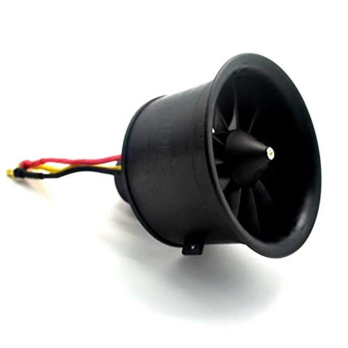 Lfives Drone Zubehör Powerfun EDF 64mm Impeller 4S 3500KV Brushless Motor 11 Blades Propeller for RC Flugzeug Flugzeug Jet (Farbe : Schwarz, Größe : Einheitsgröße)