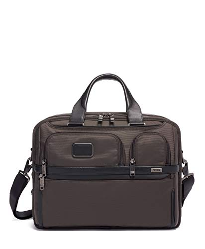 TUMI - Alpha 3 Expandable Organizer Laptop Brief Briefcase - 15 Inch Computer Bag for Men and Women - Coffee