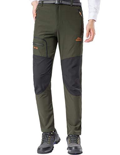 DENGBOSN Pantalon Montaña Hombre Secado Rápido Impermeable Pantalones Trekking Escalada Senderismo Acampada Transpirables y Ligeros (L, Verde del ejército)