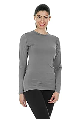 Thermajane Women's Ultra Soft Thermal Shirt – Compression Baselayer Crew Neck Top – Fleece Lined Long Sleeve Underwear T Shirt (Grey, Medium)
