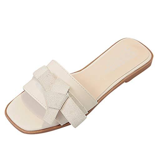 ✿✿Eaylis Damen Sandalen Stilvolle Schleife Einfarbig Flachem Boden Sommer Strand Schuhe Hausschuhe Stilvoll Und Elegant