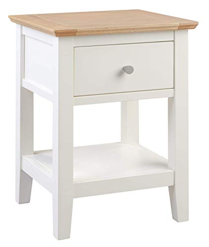 Hallowood Clifton Wooden Compact Small Side/Lamp/Coffee/Telephone/Bedside/Console Table with Drawer and Shelf, White Painted Body with Light Oak Top, CLF-LAM550