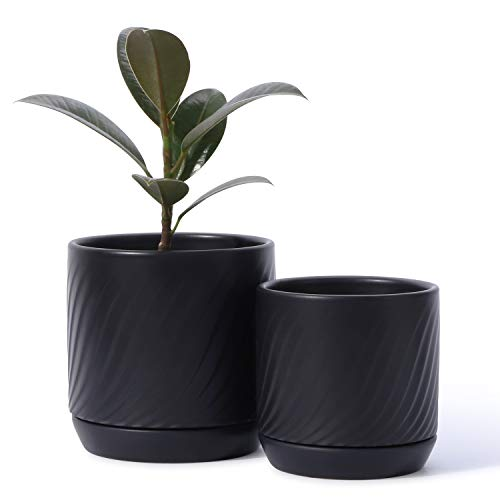 POTEY 053304 Ceramic Planter Pots - Glazed Modern Flower Planters Pot Indoor Bonsai Container with Drainage Holes & Saucer for Plants Aloe(Set of 2-5.1 + 4.2 Inch, Matte Black, Plants Not Included)