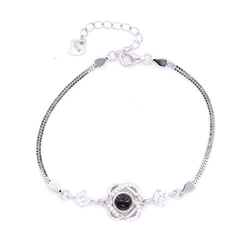 HACOOL 925 Sterling Silver Projection Projective Necklace, The Memory of Love Nanotechnology Bracelet, DOUYIN Tik Tok Bracelet-100 Different Languages for I Love U (Silver-SL3)