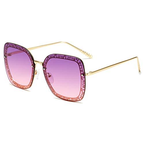 YHHZW Gafas De Sol Mujer Metal Sin Montura Gafas De Sol Señora Sunglass Shades Eyewear