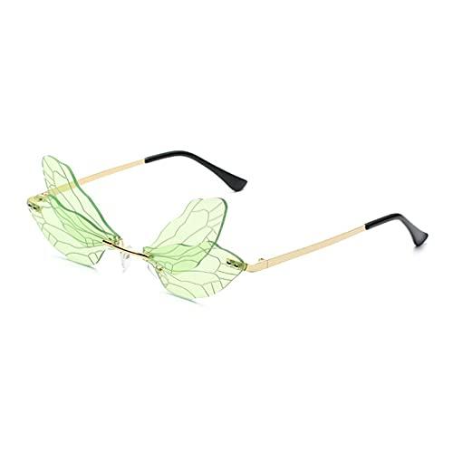 KFYOUXIN Moda Libélula ala forma rimless gafas de sol mujeres claro océano lente gafas hombres gafas sol