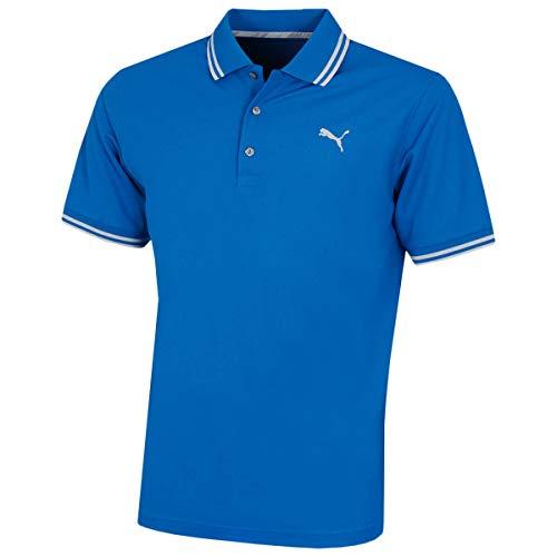 Puma Golf Herren Essential Pounce Pique Polo Shirt Männer Polohemd Golfshirt blau Größe XS