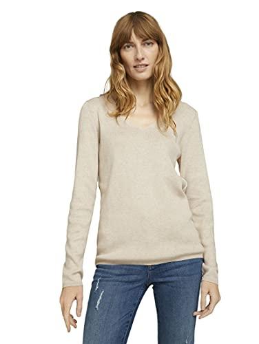 TOM TAILOR 1022171 V-Neck Sweater, 26407-Beige Alfalfa Melangé, S Femme