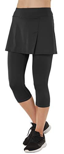 Westkun Pantalones de Falda de Mujer Corte de Hendidura Deportes Tenis Golf Rock Legging 3/4 Tela elástica 2 en 1