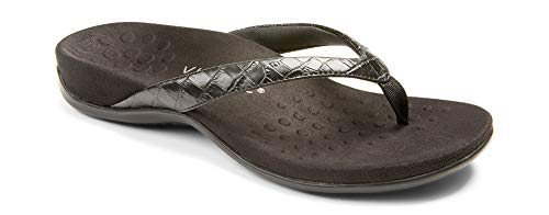 Vionic Women's Rest Dillon Toe Post Walking Sandals - Ladies Flip Flop with Concealed Orthotic Arch Support Black Croc 8.5 Wide US