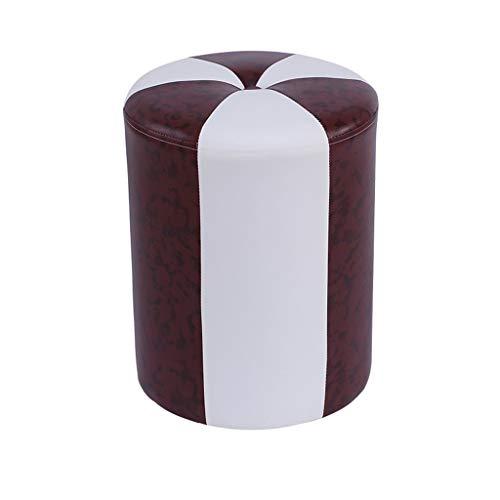 stool Sofá hogar de piel sintética cilíndrica simple dormitorio salón comedor banco zapatos perezosos sillas (color marrón